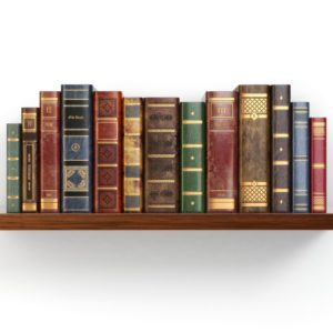 vintage-old-books-on-shelf-isolated-on-white