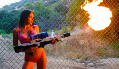 Using A FlameThrower On Filming Set Location